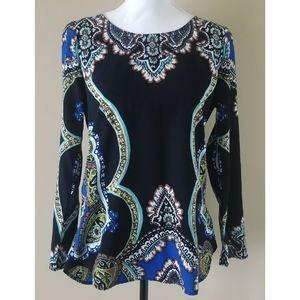 Hale Bob Black Long Sleeve Patterned Top S